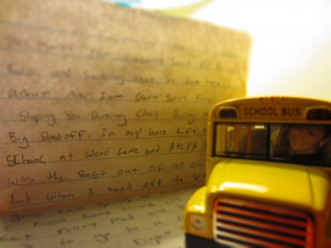 Today, a student gave me the most sincere letter of my teaching career, which will now live proudly on my home desk with the school bus, a humorous gift from a friend with me at the wheel. My heart is in it. So, why do I still need to do five things at once.
