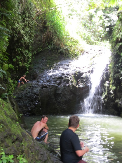 The chilly waterfall offers plenty of spots to jump in.